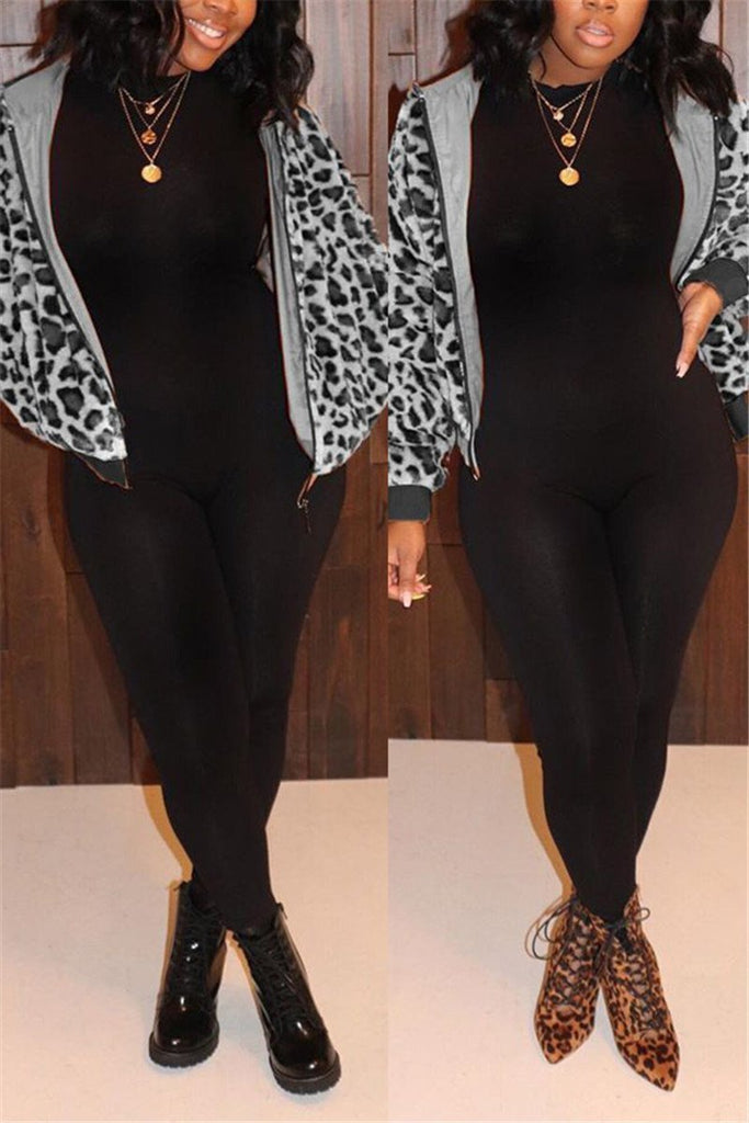 Leopard Print Zip Up Hooded Coat