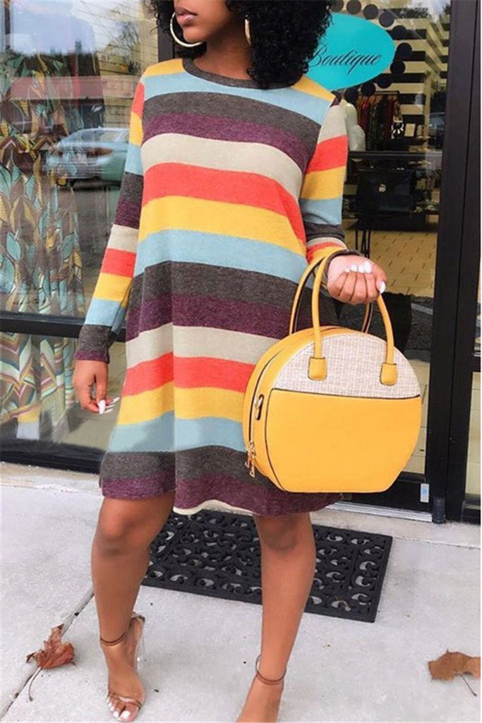 Rainbow Stripe Long Sleeve Casual Dress