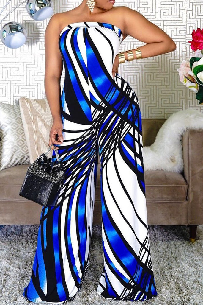 Digital Print Off The Shoulder Wide Leg Jumpsuit