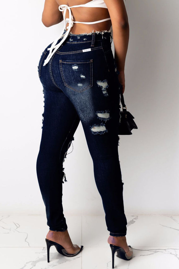 High-elastic Hole Distressed High Waist Jeans