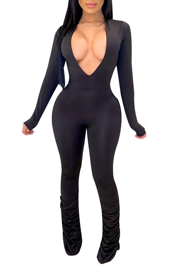 Cowl Design V Neck Solid Color Jumpsuit