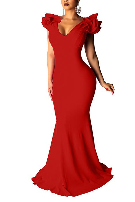 Petal Sleeve V Neck Solid Color Maxi Dress
