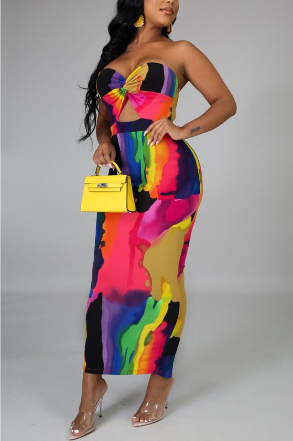 Tie Dye Print Strapless Maxi Dress