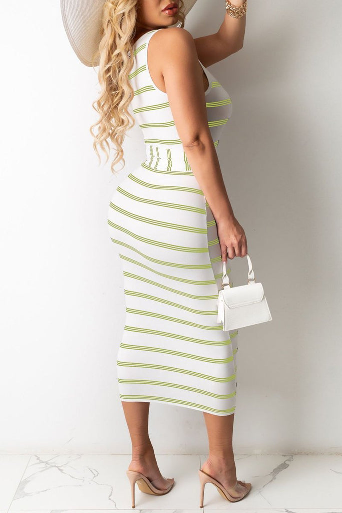 Stripe Print Sleeveless Tie Up Maxi Dress