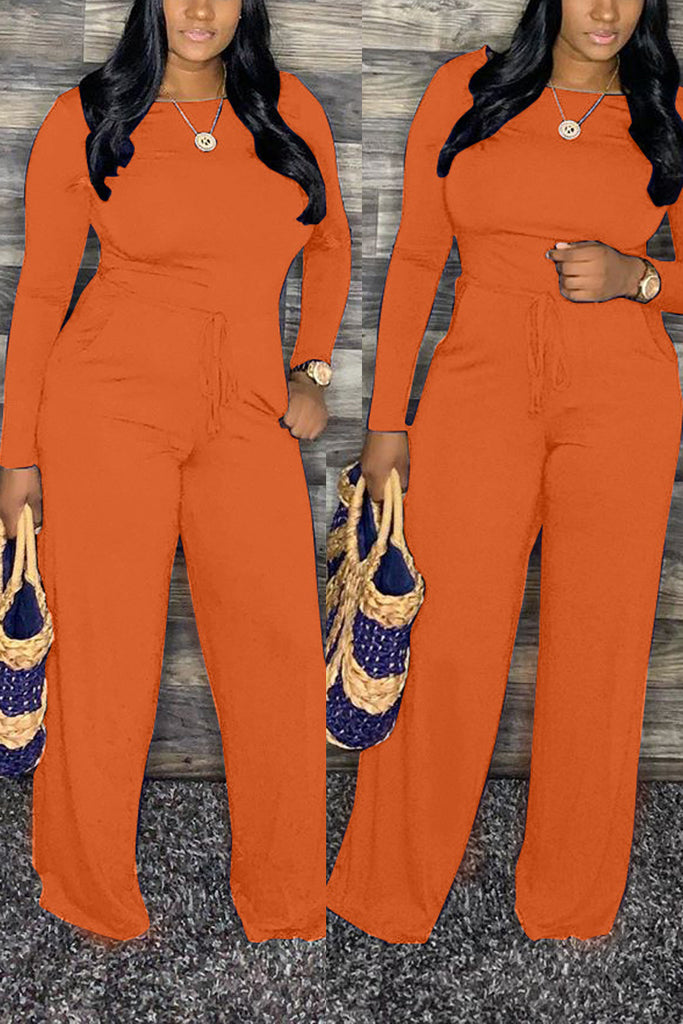 Solid Drawstring Waist Long Sleeve Jumpsuit