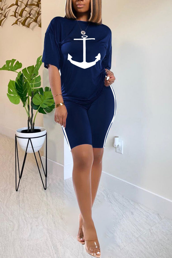 Anchor Print Short Sleeve Casual Two Piece Sets