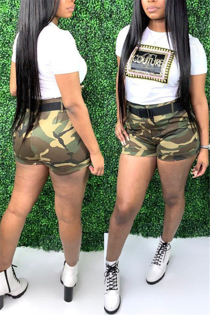 Camouflage Print Short Sleeve Plus Size Top & Shorts