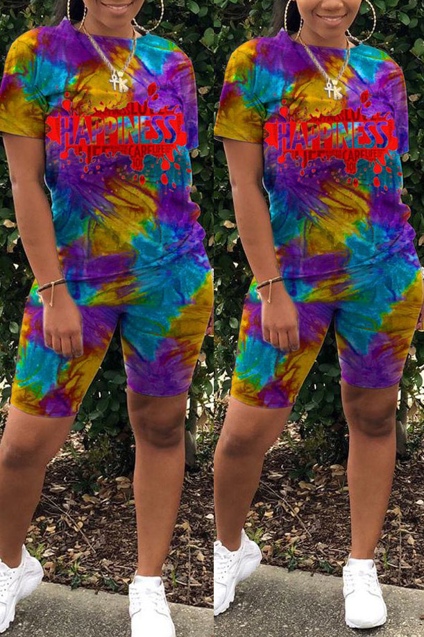 Tie Dye Print Short Sleeve Casual Two Piece Sets