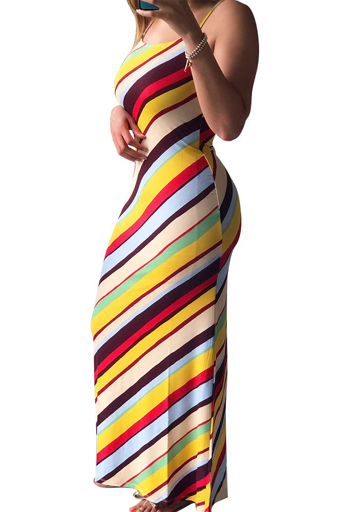Spaghetti Straps Flower & Stripe Print Maxi Dress