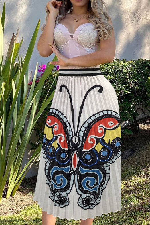 Butterfly Print Pleated Casual Skirt