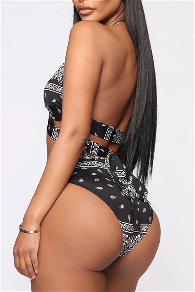 Printed Long Sleeve Three Piece Swimwear With Headscarf