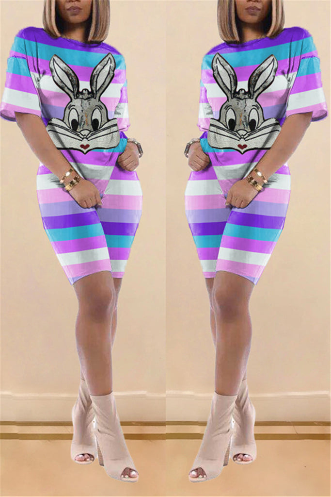 Colorful Striped Short Sleeve Cartoon Two Piece Sets