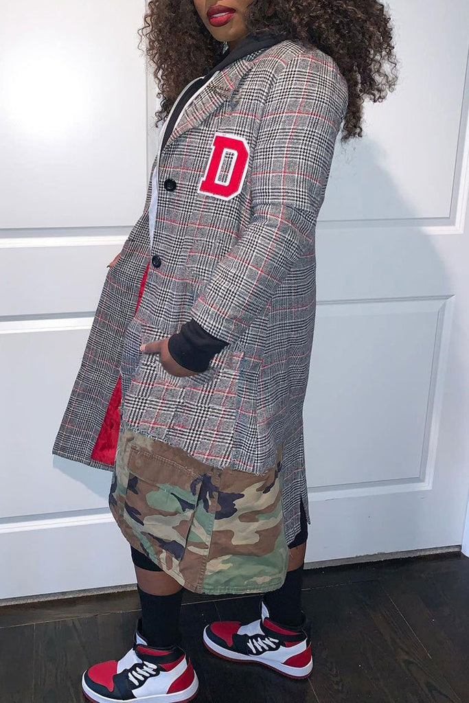 Camouflage Print Patchwork Plaid Print Coat