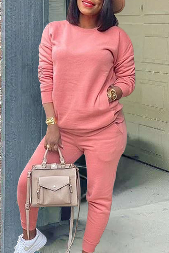 Round Neck Long Sleeve Pocket Two Piece Sets