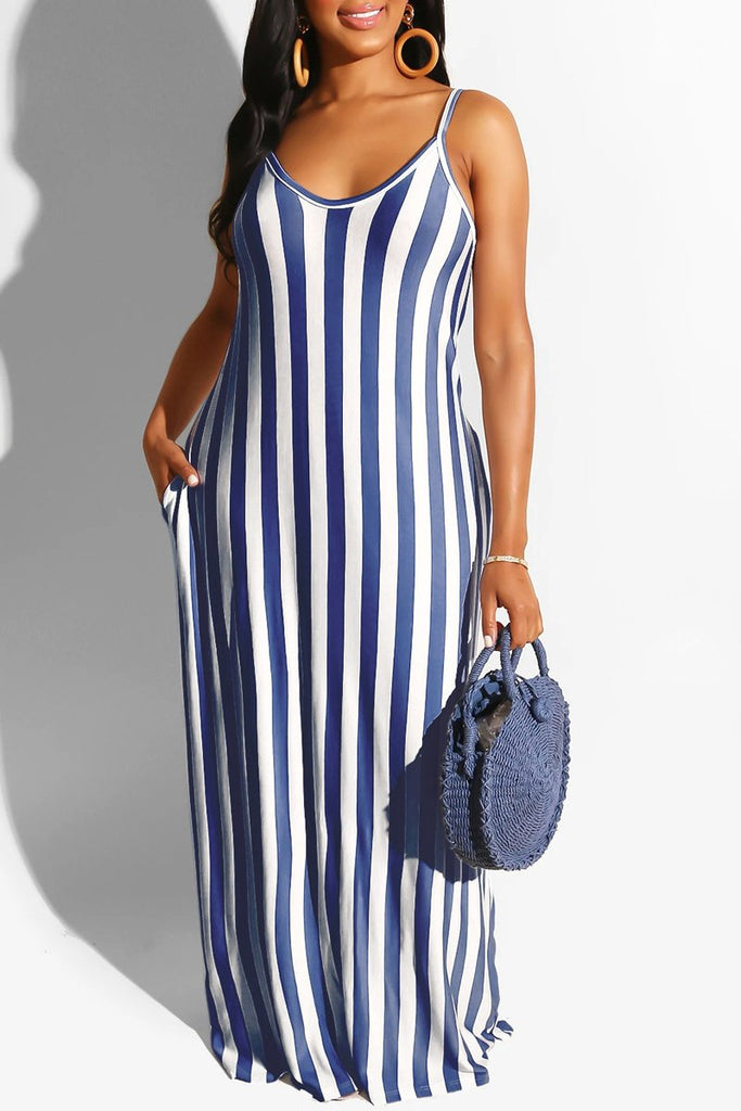 Stripe Print V-neck Spaghetti Straps Maxi Dress