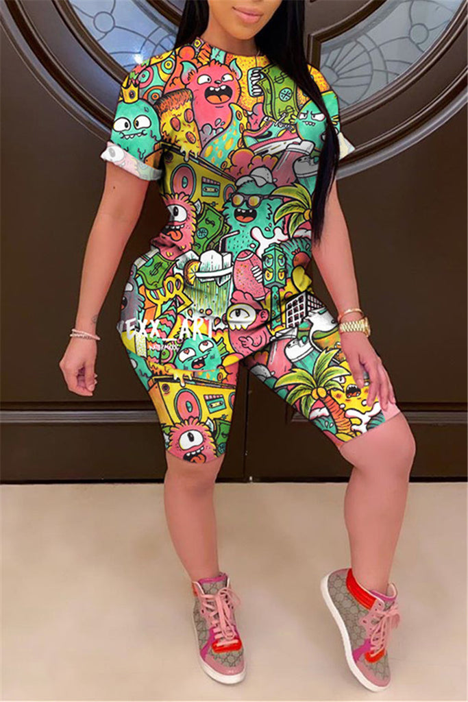 Cartoon Print Short Sleeve Two Piece Sets