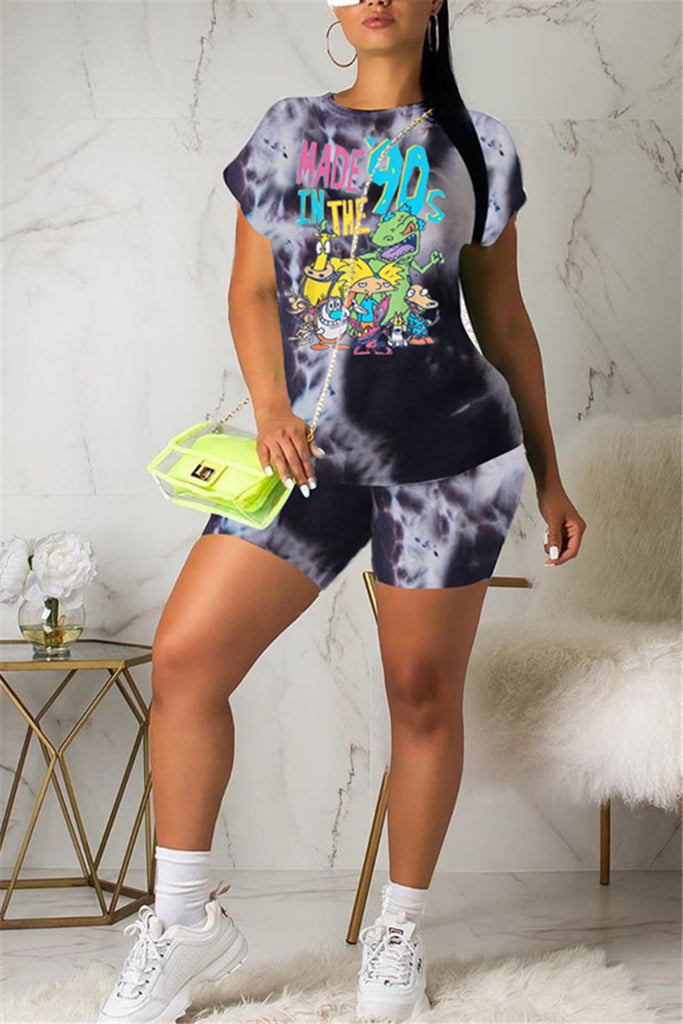 Tie Dye Cartoon Print Short Sleeve Top & Shorts