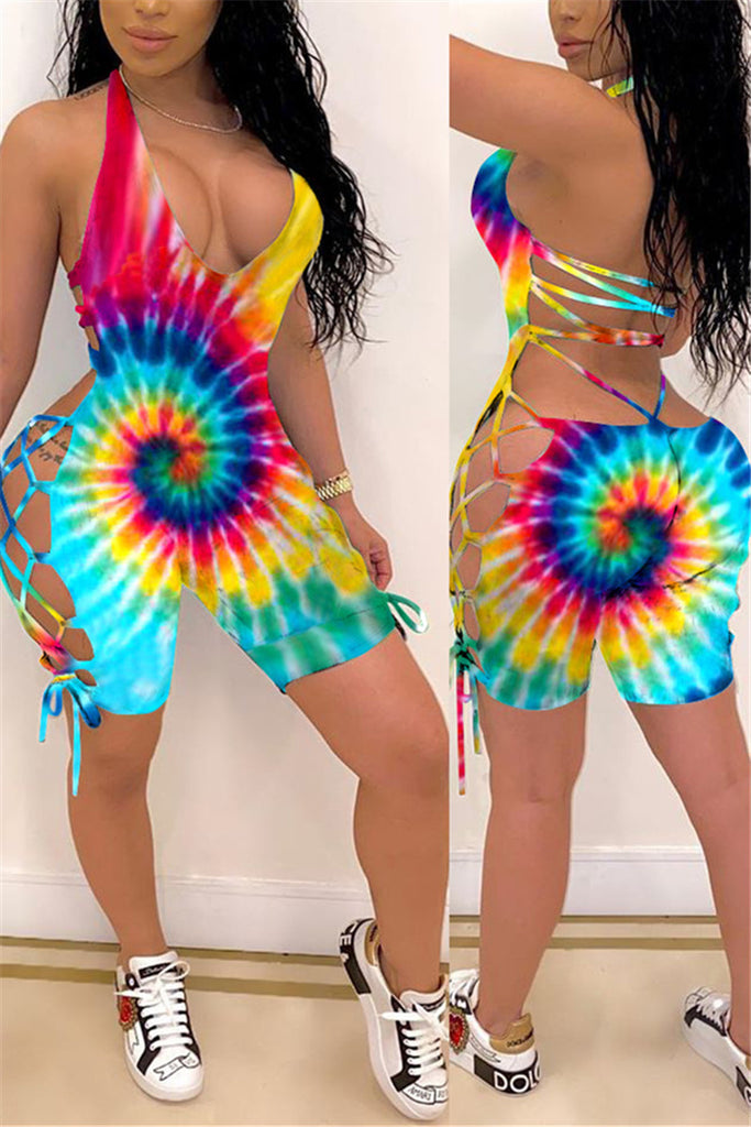 Lace Up Tie Dye Sleeveless Sexy Romper