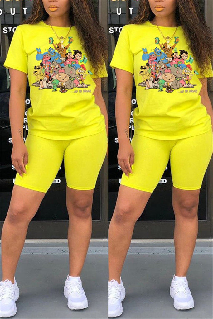 Casual Short Sleeve Cartoon Two Piece Sets