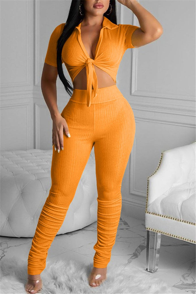 Tie Up High Waist Ruched Two Piece Sets