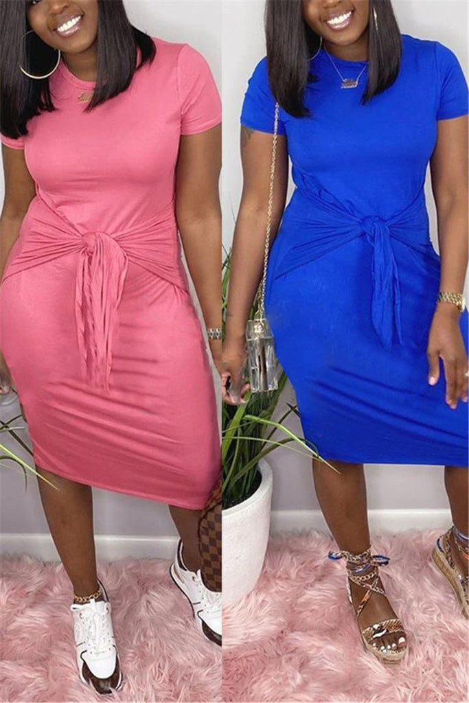 Tie Up Solid Color Short Sleeve Dress