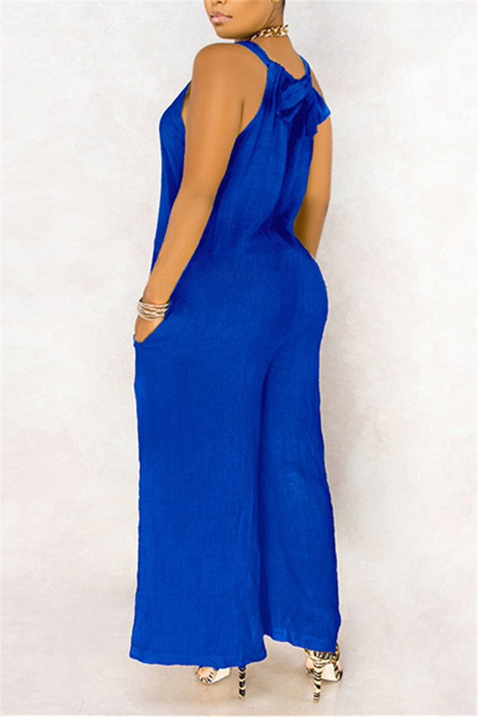 Plus Size Solid Color Sleeveless Jumpsuit