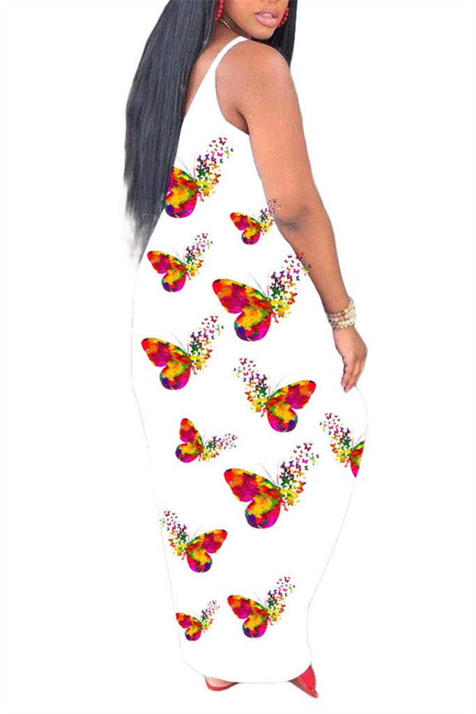 Spaghetti Straps Butterfly Print Maxi Dress