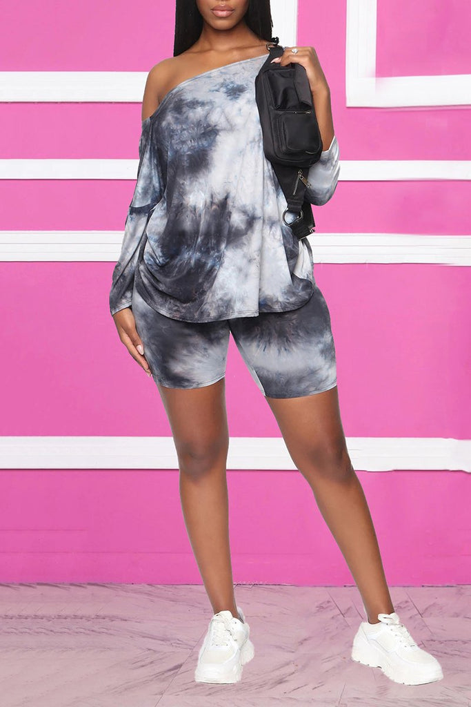 Back Knotted Tie Dye Top & Shorts