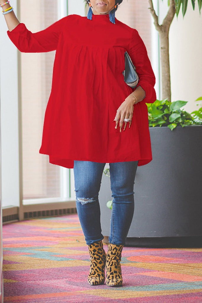 Plus Size High Neck Ruffle Solid Color Top