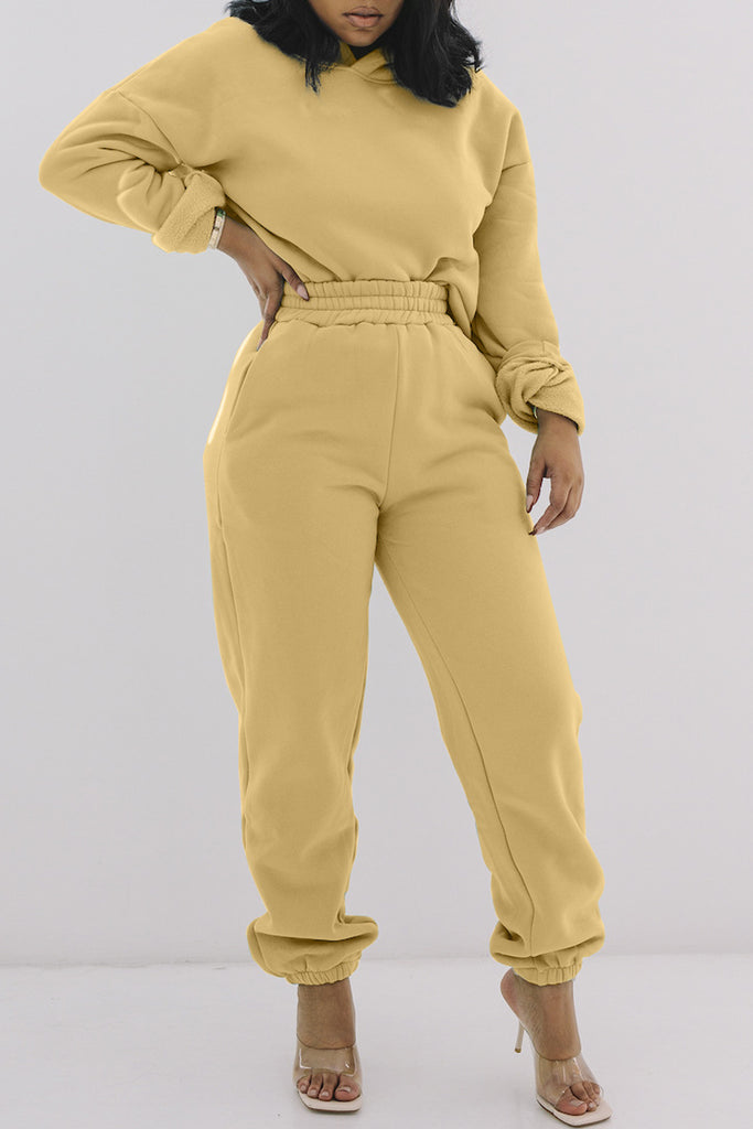 Solid Hooded Collar High Waist Top & Pants