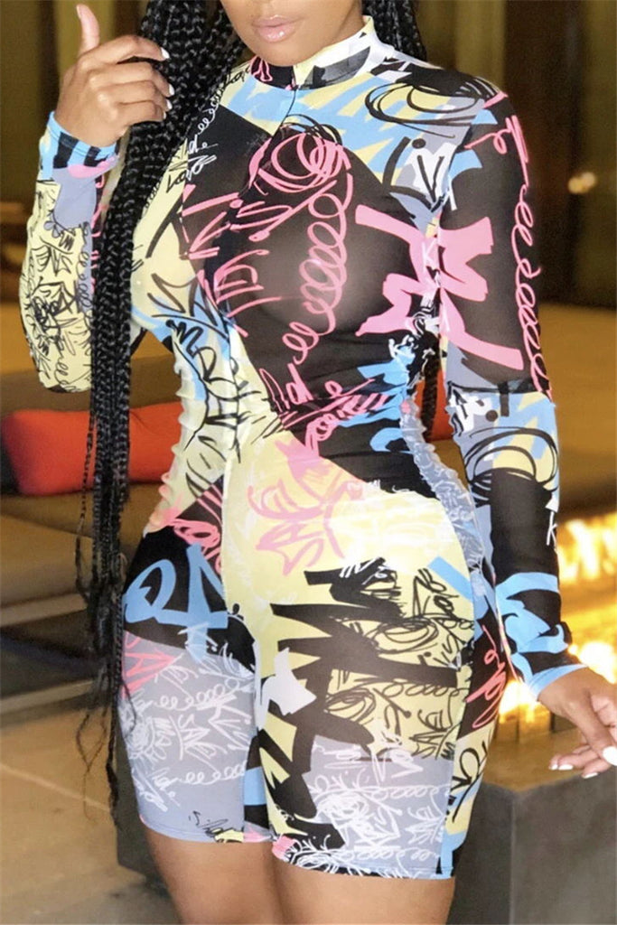 Graffiti Print Zip Up Sexy Romper