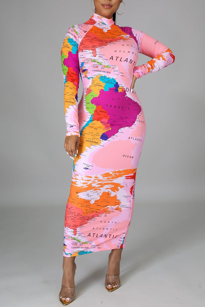 African Map Print High Neck Bodycon Dress