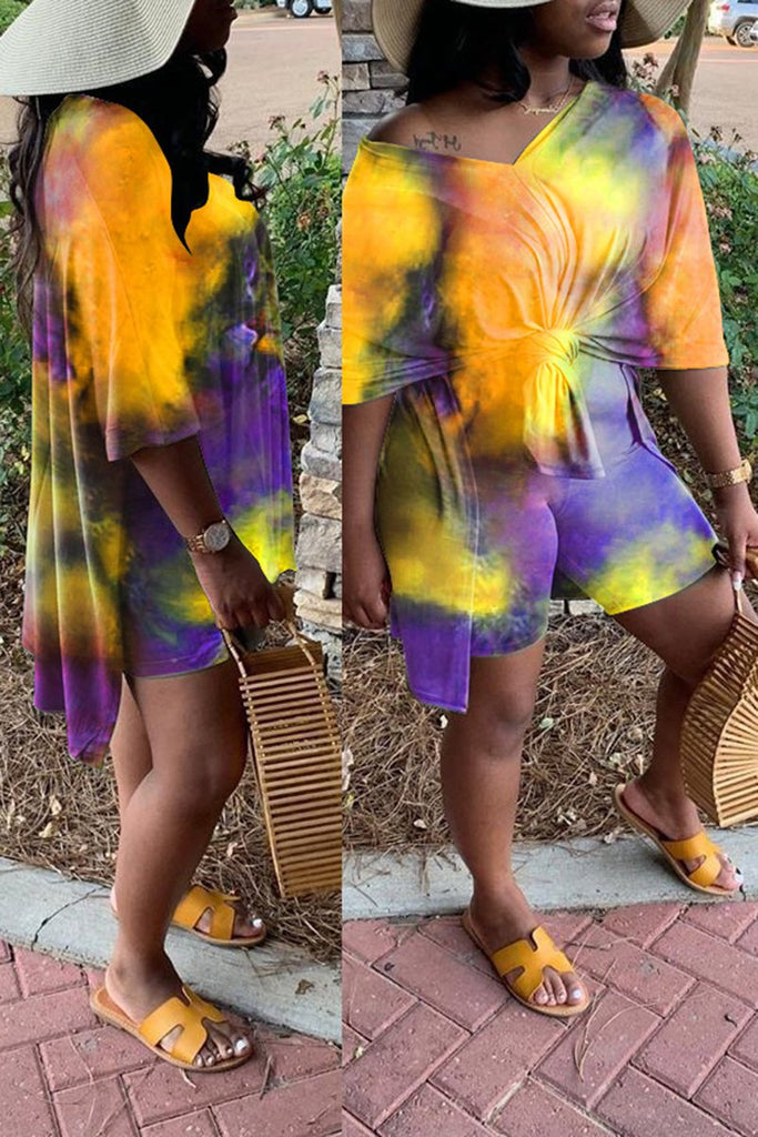 Tie Dye Skew Neck Knotted Two Piece Sets