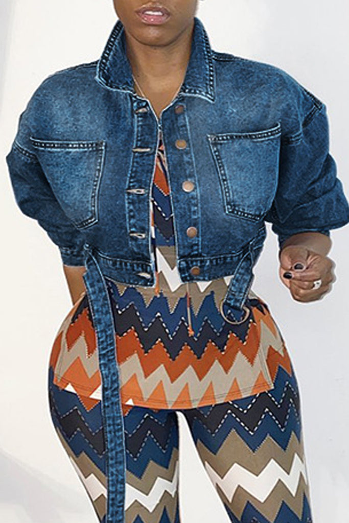 Denim Turndown Collar Belted Jacket