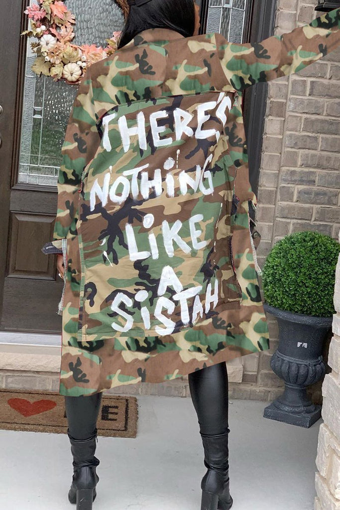 Plus Size Wide Lapel Camouflage Printed Coat