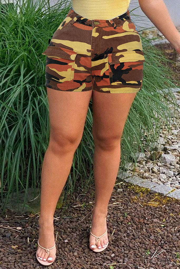 Denim Plus Size Camouflage Print Shorts