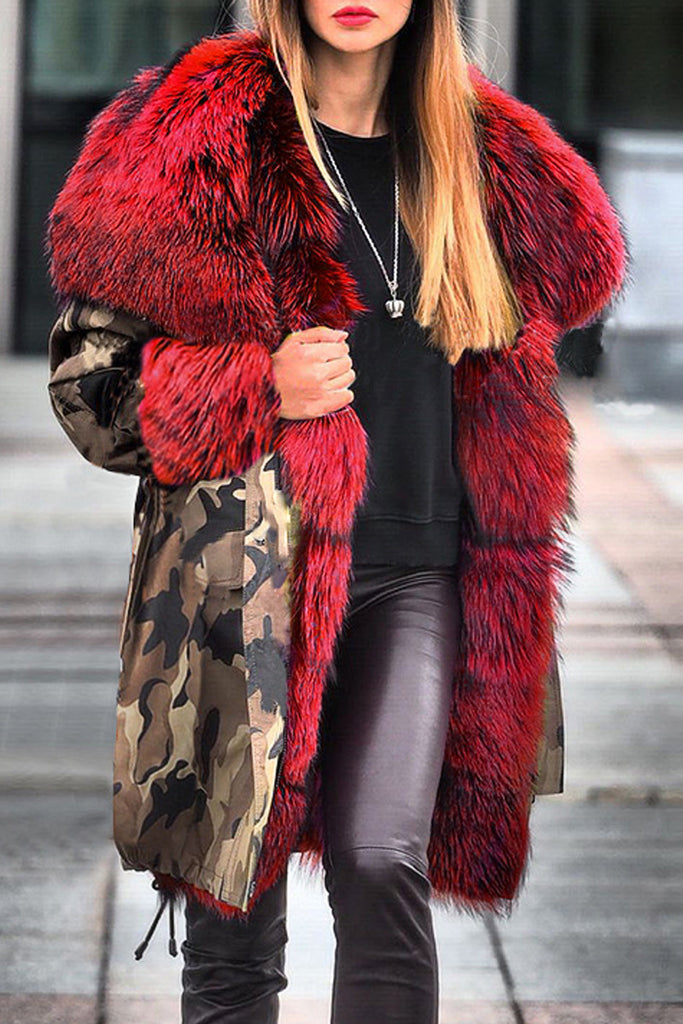 Camouflage Print Patchwork Faux Fur Collar Coat