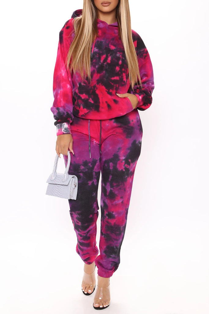 Tie Dye Hooded Collar Sports Top & Pants