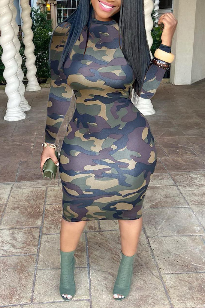 Camouflage Print Plus Size Bodycon Midi Dress