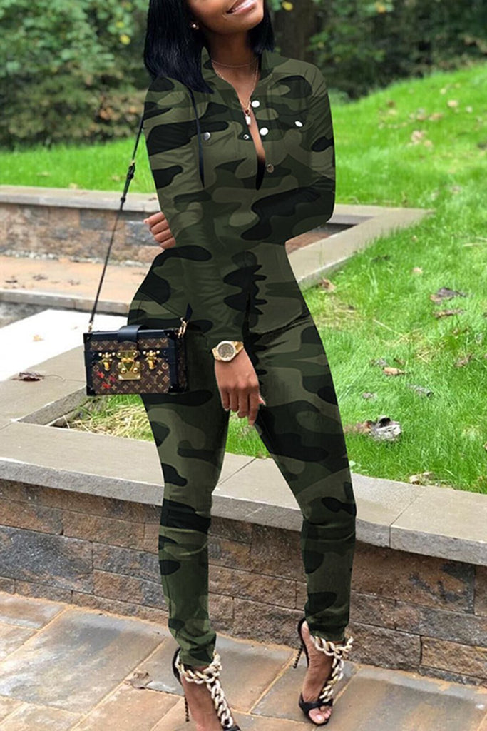 Plus Size Camouflage Print Button Two Piece Sets