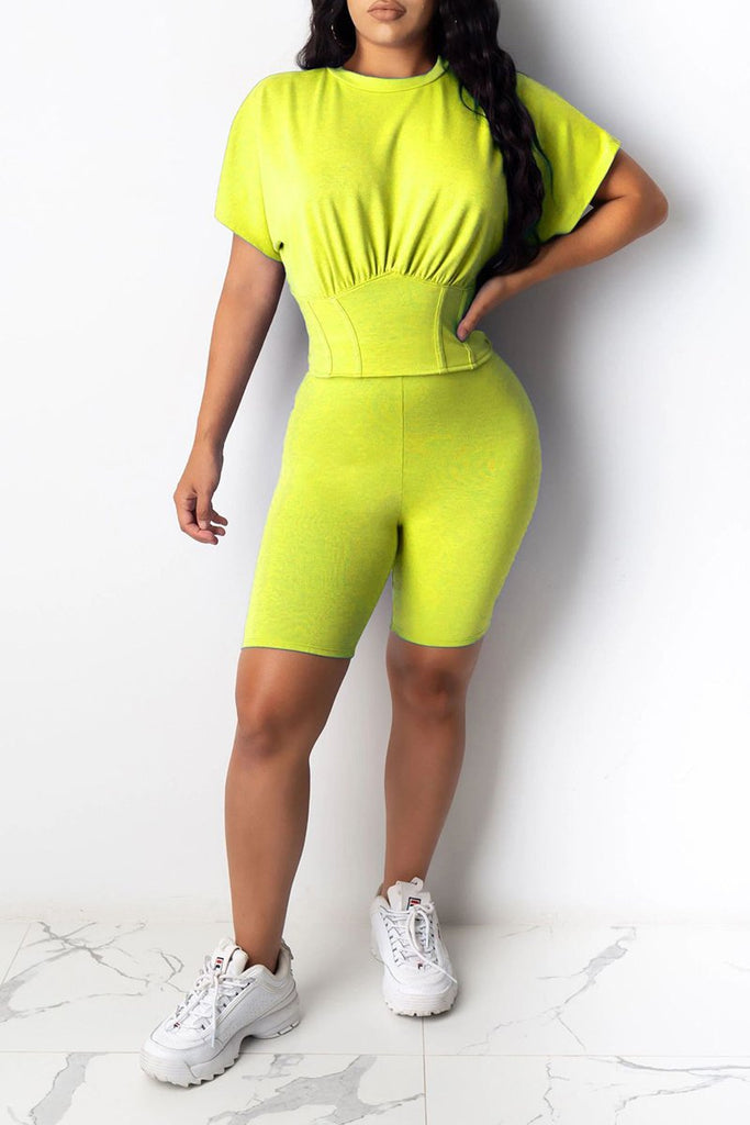 High Waist Solid Color Short Sleeve Top & Shorts