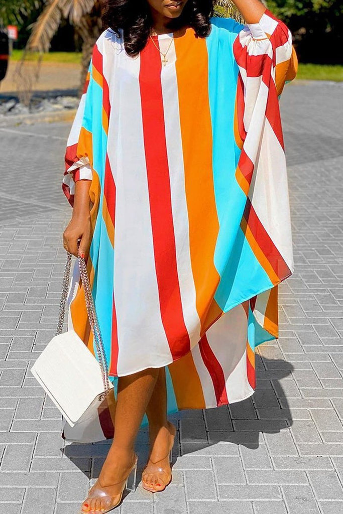 Rainbow Striped Asymmetric Hem Maxi Dress