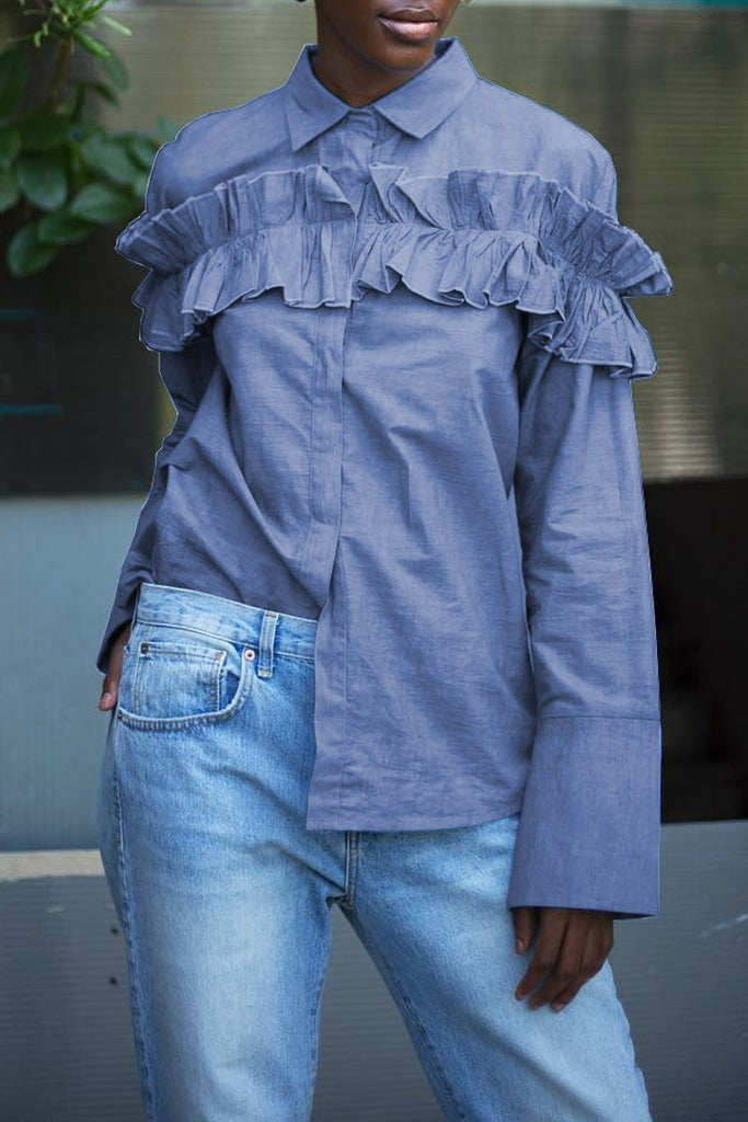 Ruffled Turndown Collar Denim Long Sleeve Casual Shirt