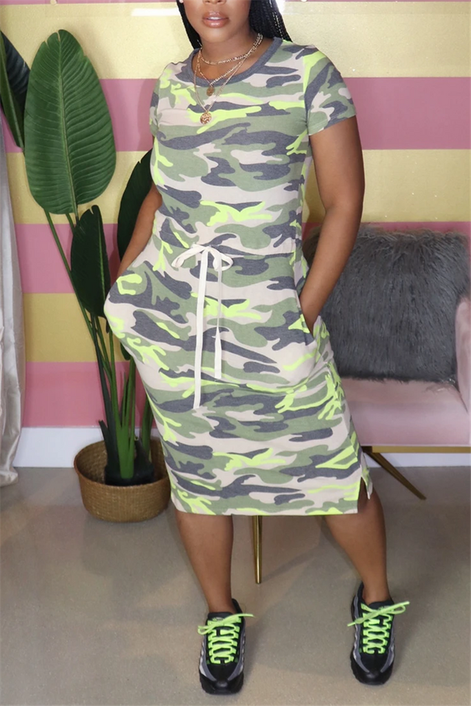 Camouflage Print Short Sleeve Drawstring Dress