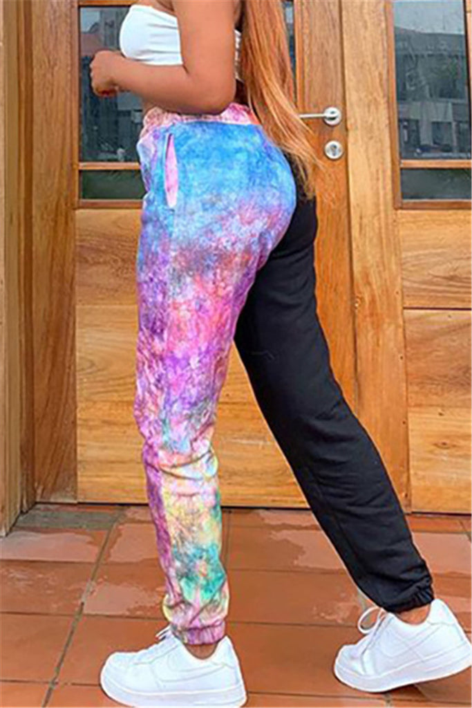 Tie Dye Patchwork Drawstring Casual Pants
