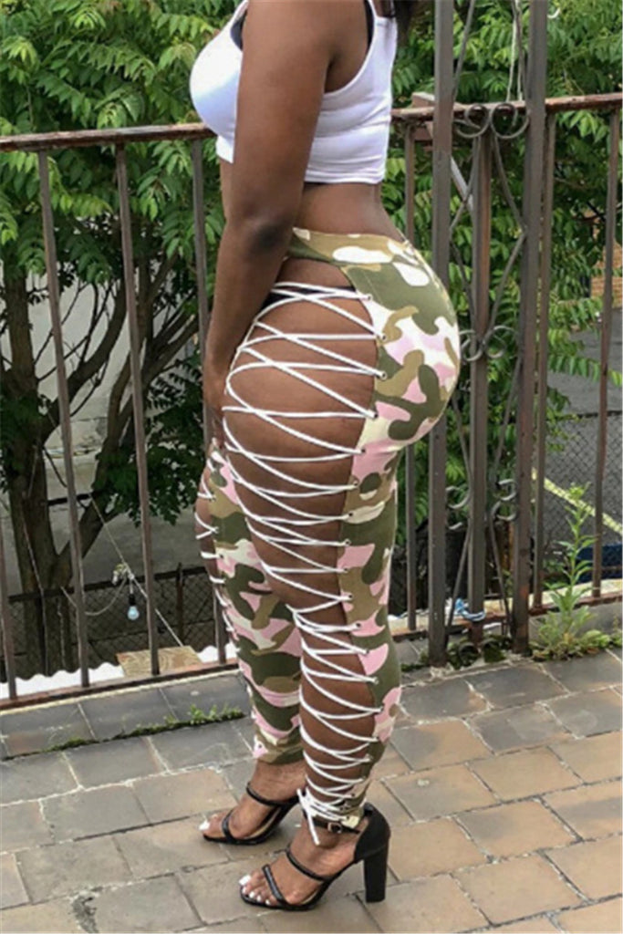 Hollow Out Camouflage PU Sexy Pants