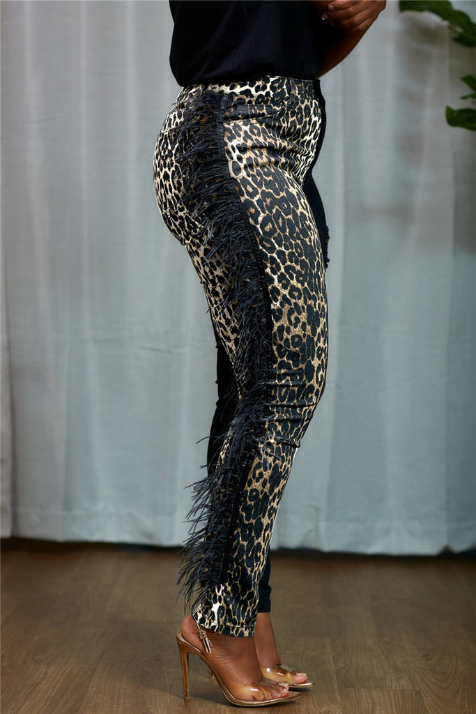 Feather Trim Leopard Patchwork Stretchy Pants
