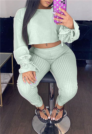 Flare Sleeve Solid Color Casual Two Piece Sets