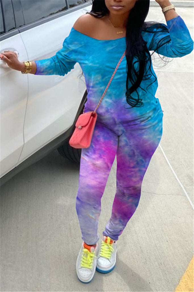 Tie Dye Skew Neck Plus Size Two Piece Sets