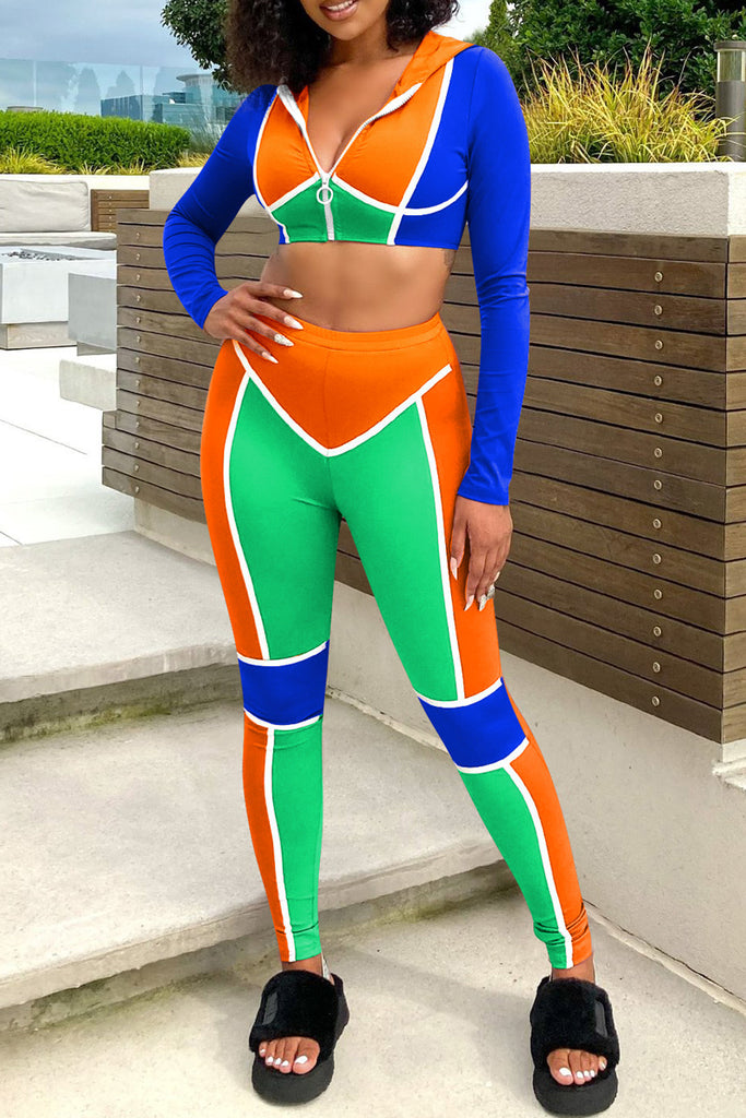 Hooded Collar Color Block Two Piece Sets